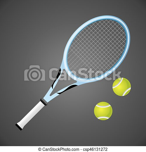 Tennis racket and balls isolated on dark background. Vector illustration - csp46131272