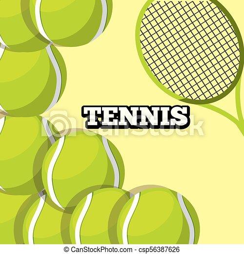 tennis racket and balls sport background design - csp56387626