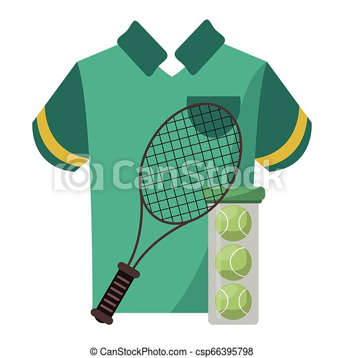 tennis racket and balls with tshirt - csp66395798
