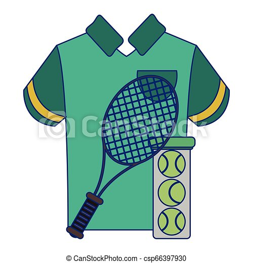 tennis racket and balls with tshirt - csp66397930