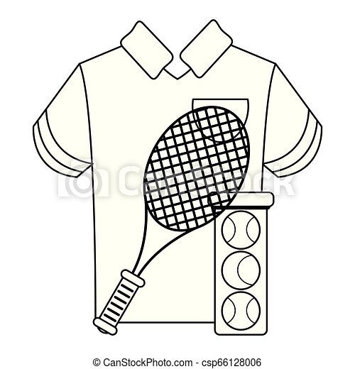 tennis racket and balls with tshirt black and white - csp66128006