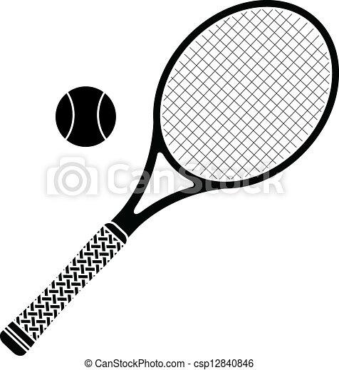 Tennis Racket Stencil Vector Illustration