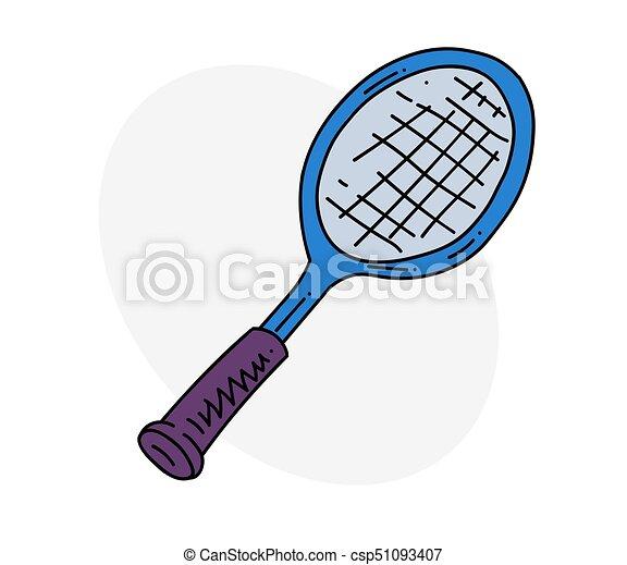 Tennis Racket Cartoon Hand Drawn Image Original Colorful Artwork