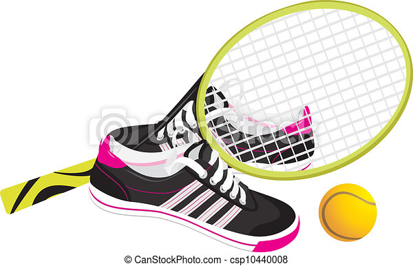 tennis racket with trainers shoes vector illustration vector rh canstockphoto com free tennis shoe vector tennis shoe print vector