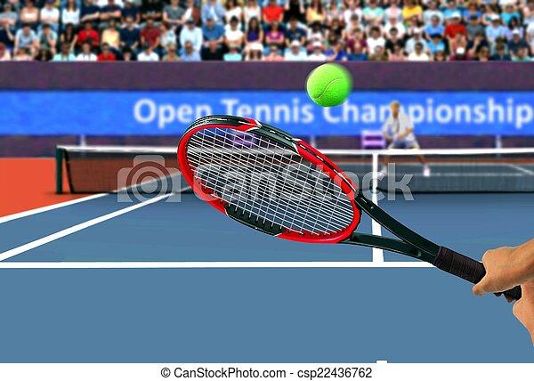 Tennis Racquet Back Hand Swing - csp22436762