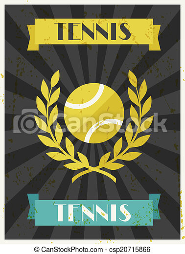 Tennis. Retro poster in flat design style. - csp20715866