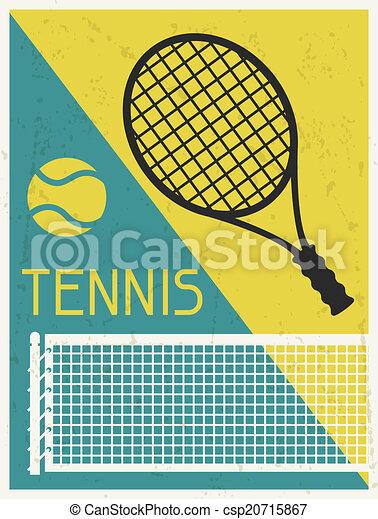 Tennis. Retro poster in flat design style. - csp20715867