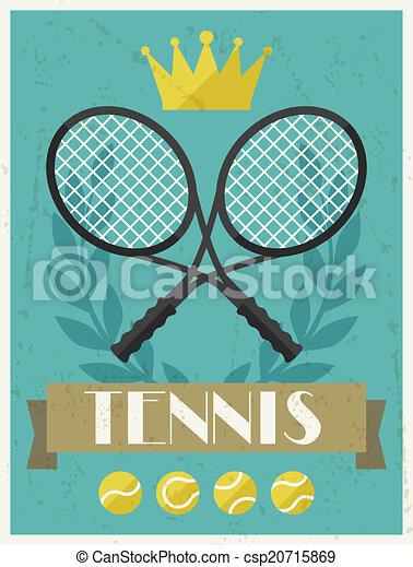 Tennis. Retro poster in flat design style. - csp20715869