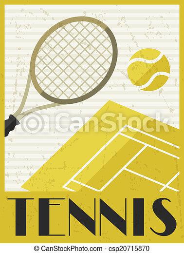 Tennis. Retro poster in flat design style. - csp20715870