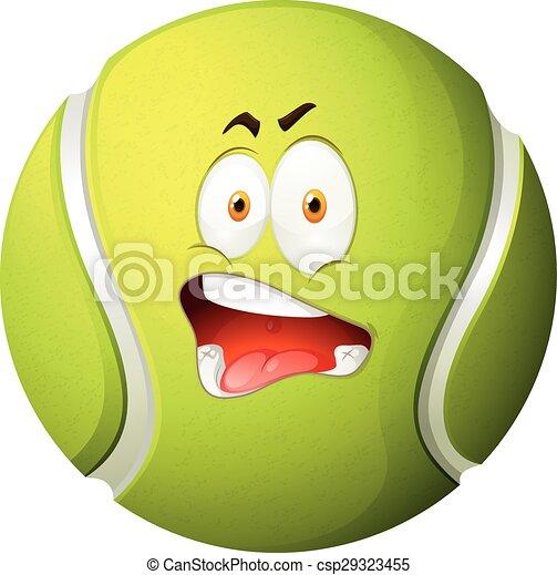 tennis, sciocco, palla, faccia - csp29323455