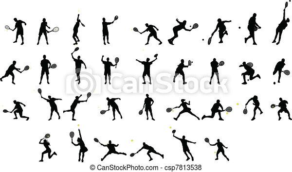 tennis silhouettes  - csp7813538
