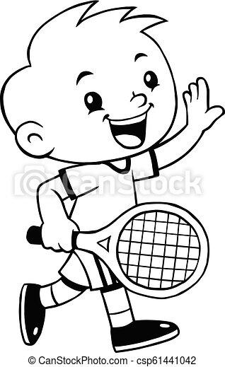 Tennis Sport Boy Cartoon