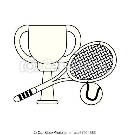 Tennis trophy cup with racket and ball in black and white - csp67924363