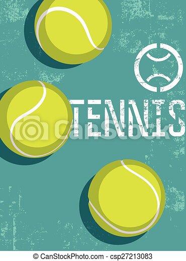 Tennis vintage grunge style poster. - csp27213083
