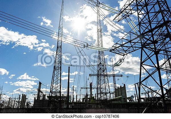 tension, élevé, électrique, ciel, tours, contre - csp10787406