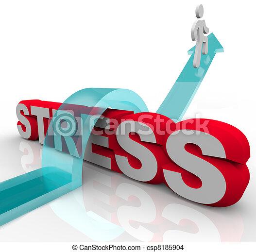 tension, inquiétude, mot, sur, surmonter, sauter, battement - csp8185904