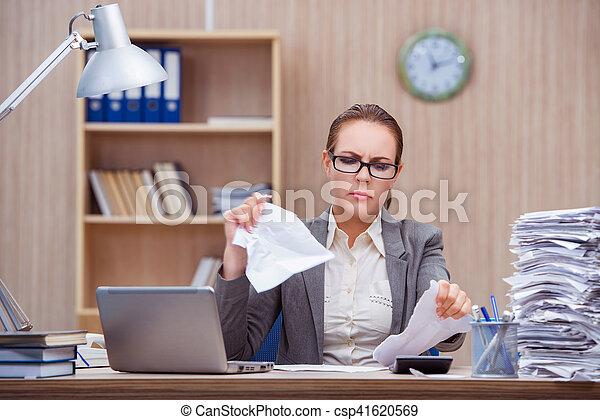 Stock image de tension occup stressant bureau femme sous