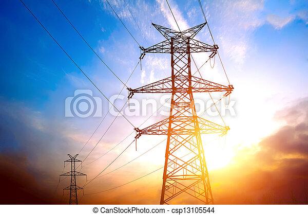 tension, poste, élevé - csp13105544