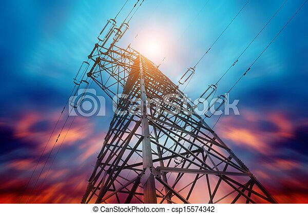 tension, poste, élevé - csp15574342
