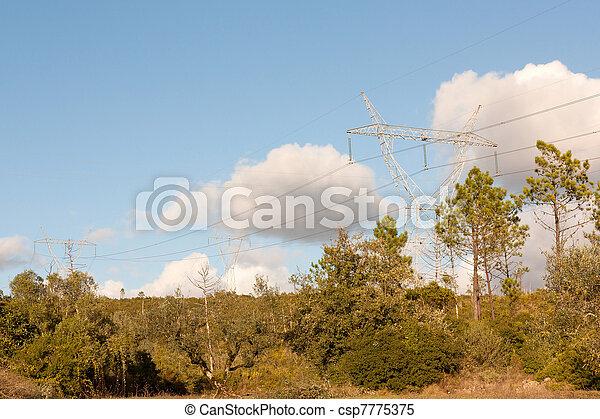 tension, pylônes, élevé - csp7775375