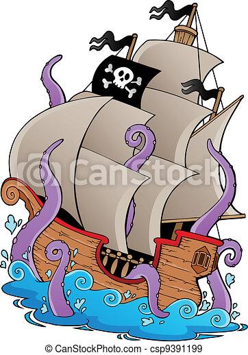 Viejo barco pirata con tentáculos - csp9391199