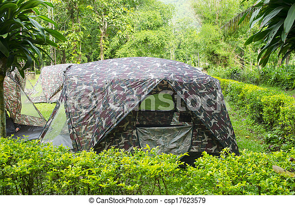Tent Camping In A Campground In Thailand National Park