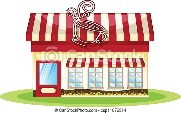Illustration Of A Tent Coffee Shop In White Background
