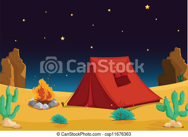 Tent House Vector & Illustration of a tent house and stars in night sky clip art ...