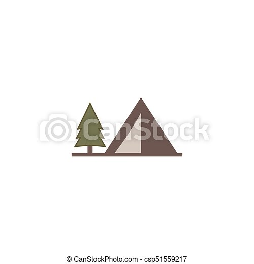 tent icon isolated on white background. Solid adventure symbol. Monochrome design. Use for logo creation. Stock vector illustration. Flat - csp51559217