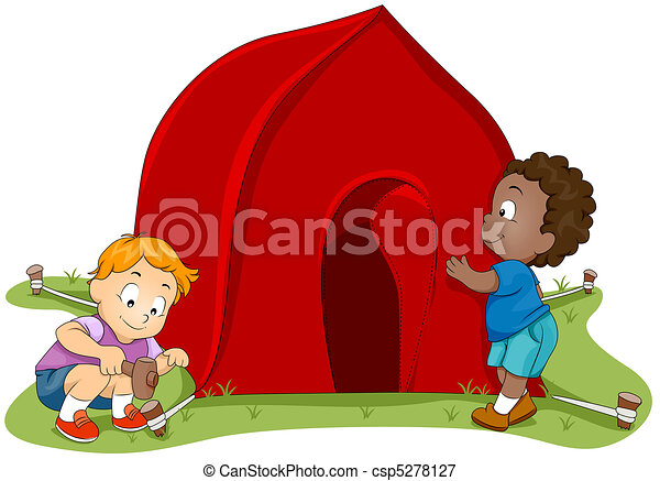 Tent Setup - csp5278127  sc 1 st  Can Stock Photo & Tent setup. Illustration of kids setting up a tent stock ...
