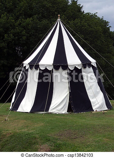 Tent - csp13842103 & Tent. Medieval black and white striped ent stock photography ...