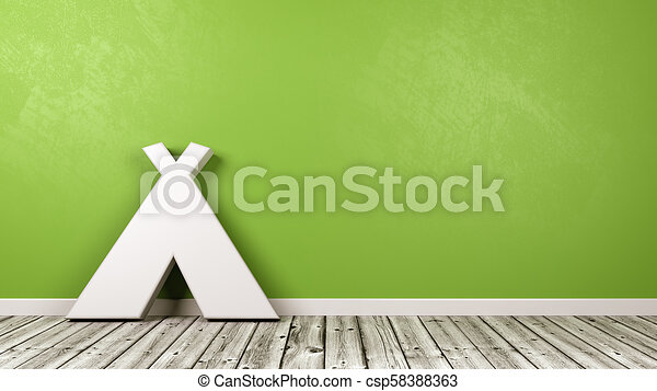 Tent Symbol On Wooden Floor Against Wall White Tent 3d Symbol Shape On Wooden Floor Against Green Wall With Copy Space 3d