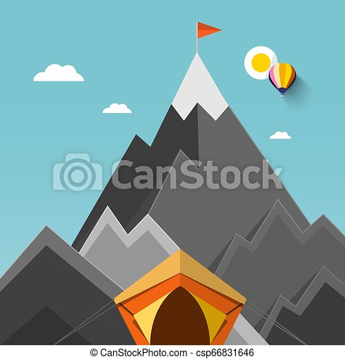 Tent with Mountains on Background with Flag on Highest Mountain Vector Flat Design Illustration - csp66831646