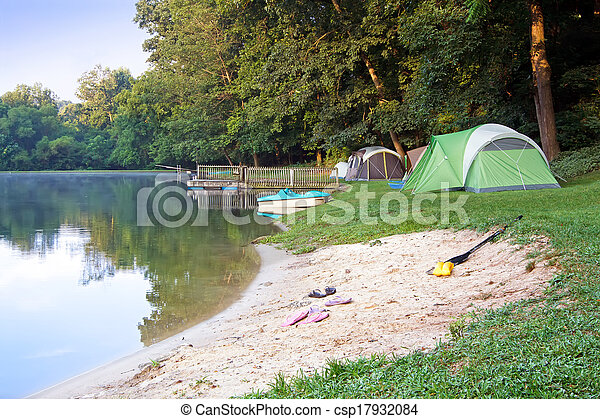 Tents at the Lake - csp17932084