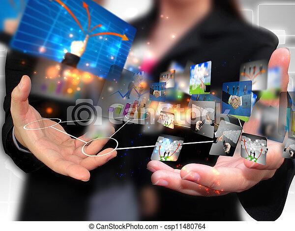 tenue, affaires gens, social, média - csp11480764