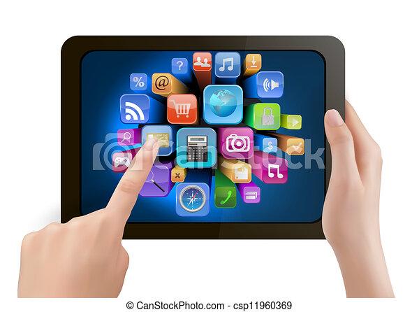 tenue, c'est, écran, icons., main, pc, toucher, tampon, doigt, vector., toucher - csp11960369