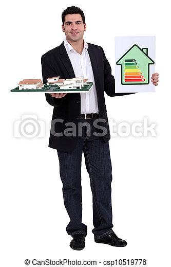 tenue, consommation, énergie, étiquette, modèle architectural, homme - csp10519778