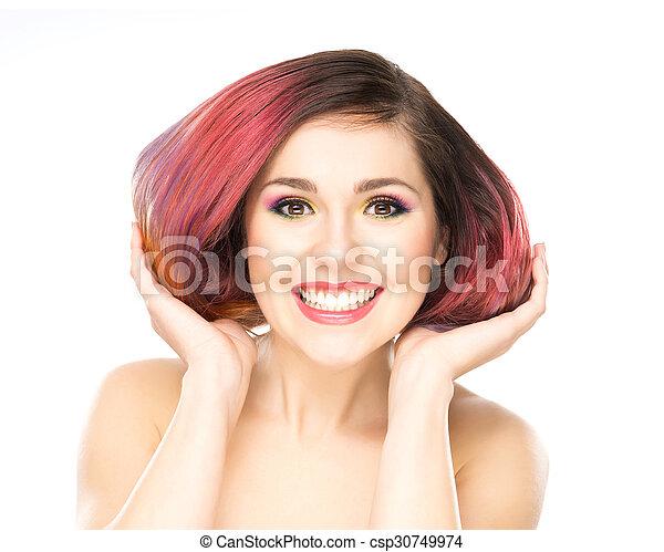 tenue, haircut., girl, elle, séduisant - csp30749974