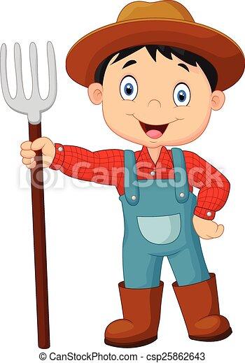 tenue, paysan, jeune, dessin animé, râteau - csp25862643