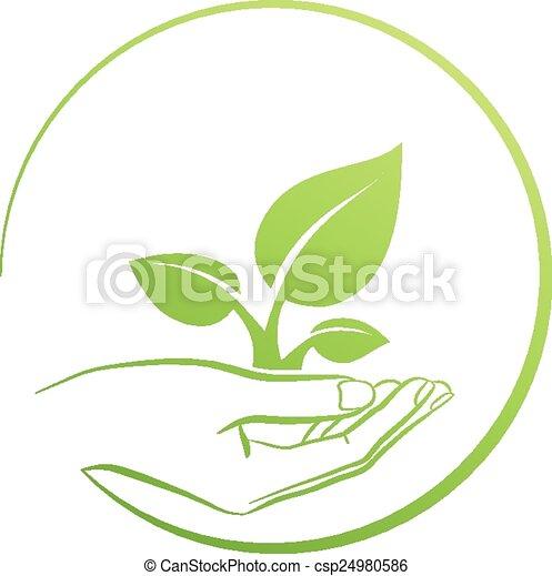 tenue, plante, logo, main, concept - csp24980586