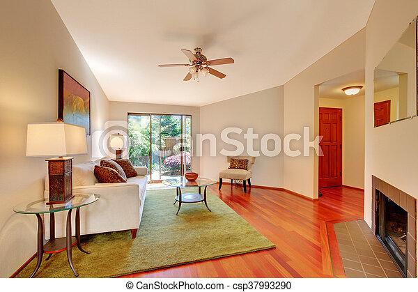 Teppich Wohnzimmer Boden Hartholz Grun Beige Fireplace