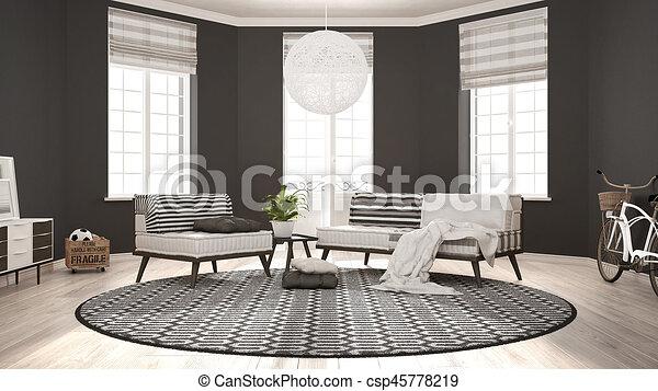 Teppich, wohnzimmer, minimalist, sessel, modern, sofa,... Clipart ...