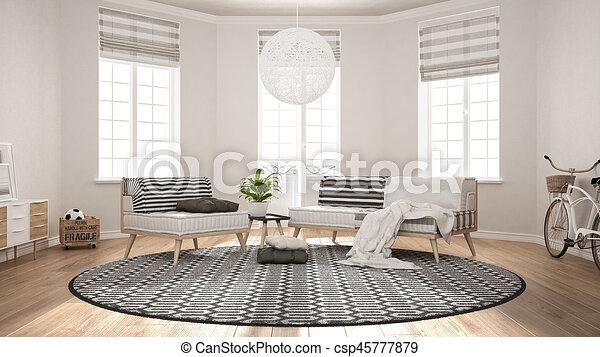 teppich, wohnzimmer, minimalist, sessel, modern, sofa, skandinavisch,  design, inneneinrichtung
