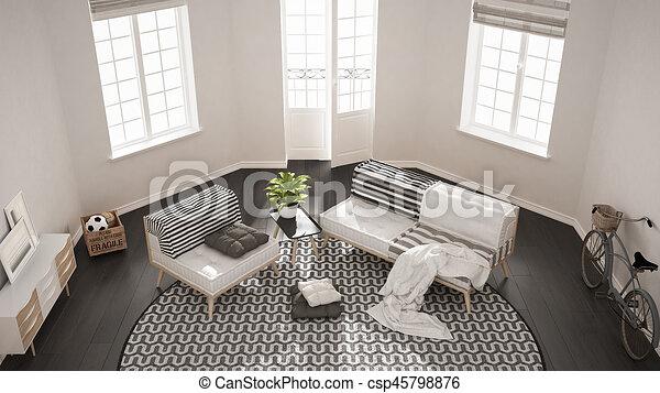 Teppich, wohnzimmer, minimalist, sessel, oberseite, modern, sofa ...