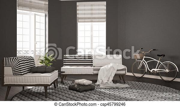 Teppich, wohnzimmer, minimalist, sessel, modern, sofa,... Zeichnung ...