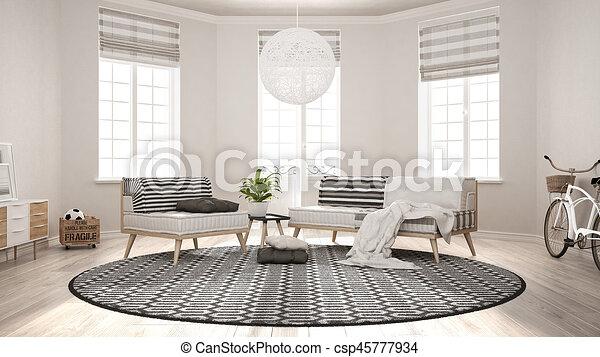 Teppich Wohnzimmer Minimalist Sessel Modern Sofa Skandinavisch Design Inneneinrichtung