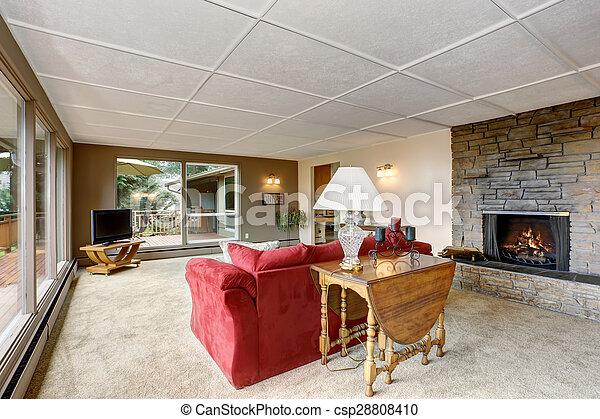 Teppich, Wohnzimmer, Sofa., Groß, Weiß Rot   Csp28808410