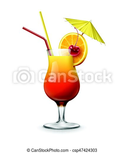 vector tequila sunrise cocktail garnished with maraschino cherry rh canstockphoto com tequila sunrise clipart Margaritaville Clip Art