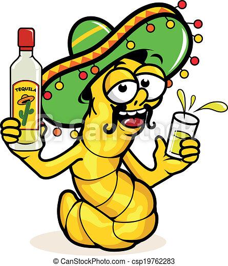 tequila., ubriaco, tequila, verme, illustrazione, vettore, bottiglia, bere - csp19762283