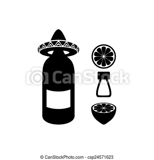 Black Vector Tequila With Lemon And Salt Icons Vector